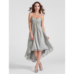 Australia Formal Dresses Cocktail Dress Party Dress Silver Plus Sizes Dresses Petite A-line Princess Sweetheart Strapless Asymmetrical Short Knee-length Chiffon