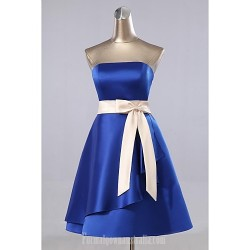 Australia Formal Dress Evening Gowns As Picture A Line Strapless Short Knee Length Satin