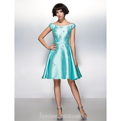 Australia Semi Formal Cocktail Party Dress Jade A-line Scoop Short Knee-length Satin