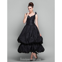 Australia Cocktail Party Dresses Holiday Prom Dress Black Plus Sizes Dresses Petite Ball Gown V-neck Ankle-length Taffeta