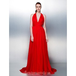 Dress Ruby Plus Sizes Dresses Petite A-line Princess Halter Court Train Chiffon