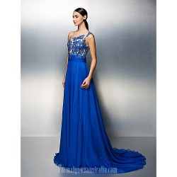 Australia Formal Dress Evening Gowns Royal Blue Plus Sizes Dresses Petite A-line Sexy One Shoulder Court Train Chiffon