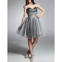 Australia Formal Dresses Cocktail Dress Party Dress Prom Gowns Sweet 16 Holiday Dress Silver Plus Sizes Dresses Petite A-line Princess Sweetheart Spaghetti Straps Short Knee-length