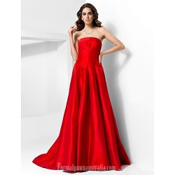 Australia Formal Dress Evening Gowns Ruby Plus Sizes Dresses Petite A-line Princess Strapless Court Train Taffeta