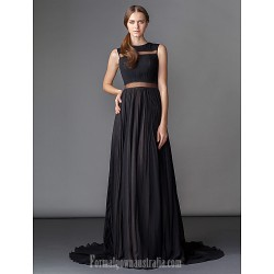 Australia Formal Dress Evening Gowns Black A Line Jewel Court Train Chiffon