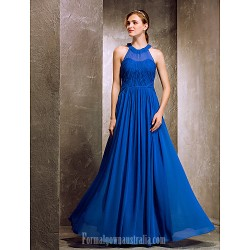 Long Floor-length Chiffon Bridesmaid Dress Royal Blue Apple Hourglass Inverted Triangle Pear Rectangle Plus Sizes Dresses Petite Misses