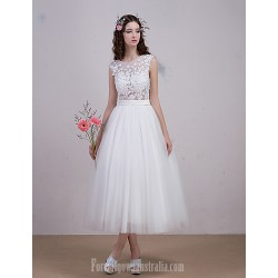 Evening dress ball gown ivory translucent hollow with beading on lace Tea-length fairy dress bridal wedding dress