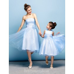 Australia Formal Dresses Cocktail Dress Party Dress Sky Blue Plus Sizes Dresses Petite A-line Strapless Short Knee-length Tulle