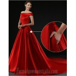 Australia Formal Dress Evening Gowns Ruby Plus Sizes Dresses Petite A-line Off-the-shoulder Court Train Satin Formal Dress Australia
