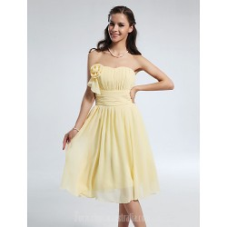 Short Knee-length Chiffon Bridesmaid Dress Daffodil Plus Sizes Dresses Petite A-line Princess Strapless Sweetheart