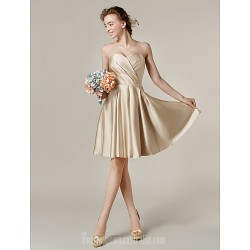 Short Knee-length Satin Bridesmaid Dress Champagne Plus Sizes Dresses Petite A-line Princess Sweetheart