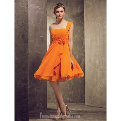 Short Knee Length Chiffon Bridesmaid Dress Orange Plus Sizes Dresses Petite A Line Princess Sexy One Shoulder