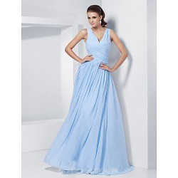 Australia Formal Dress Evening Gowns Prom Gowns Military Ball Dress Sky Blue Plus Sizes Dresses Petite A-line Princess V-neck Long Floor-length Chiffon