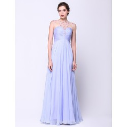 Australia Formal Evening Dress Lavender A-line Scoop Long Floor-length Chiffon Tulle