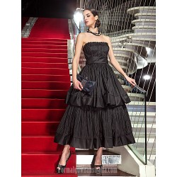 Australia Formal Dress Evening Gowns Military Ball Dress Black Plus Sizes Dresses Petite A-line Strapless Tea-length Taffeta