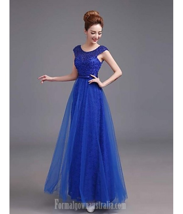 Australia Formal Dress Evening Gowns Royal Blue Plus Sizes Dresses A-line Bateau Long Floor-length Satin Formal Dress Australia