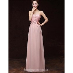 Australia Formal Dress Evening Gowns Blushing Pink A Line Strapless Long Floor Length Satin