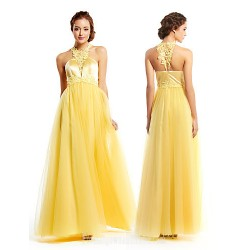 Australia Formal Dress Evening Gowns Daffodil A-line Jewel Long Floor-length Tulle Dress Charmeuse