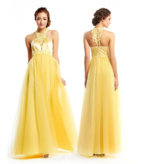 Australia Formal Dress Evening Gowns Daffodil A-line Jewel Long Floor-length Tulle Dress Charmeuse Formal Dress Australia