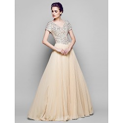 A-line Plus Sizes Dresses Petite Mother of the Bride Dress Champagne Long Floor-length Short Sleeve Chiffon Tulle Sequined