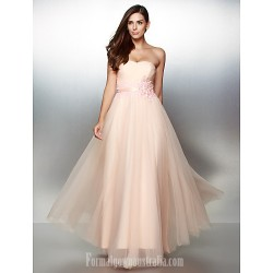 Australia Formal Dress Evening Gowns Pearl Pink A-line Strapless Ankle-length Lace Tulle
