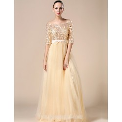 Australia Formal Dress Evening Gowns Champagne Ball Gown Bateau Long Floor-length Tulle Dress Charmeuse Sequined