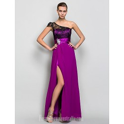 Australia Formal Dress Evening Gowns Military Ball Dress Fuchsia Plus Sizes Dresses Petite A Line Sexy One Shoulder Long Floor Length Georgette