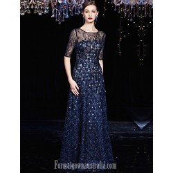 Australia Formal Dress Evening Gowns Dark Navy A-line Jewel Long Floor-length Lace Dress Charmeuse