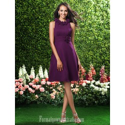 Short Knee Length Chiffon Bridesmaid Dress Grape Plus Sizes Dresses Petite A Line Princess Jewel