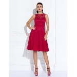 Australia Formal Dresses Cocktail Dress Party Dress Holiday Dress Ruby Plus Sizes Dresses Petite A-line Jewel Short Knee-length Chiffon Lace Formal Dress Australia