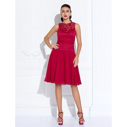 Australia Cocktail Party Dresses Holiday Dress Ruby Plus Sizes Dresses Petite A-line Jewel Short Knee-length Chiffon Lace