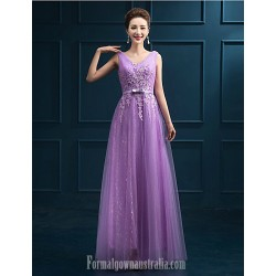 Australia Formal Dress Evening Gowns Ruby Lilac Pearl Pink A-line V-neck Long Floor-length Tulle Dress