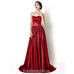 Australia Formal Dress Evening Gowns Burgundy A-line Sweetheart Court Train Stretch Satin