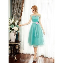 Australia Cocktail Party Dress Sage Ball Gown Off-the-shoulder Tea-length Tulle