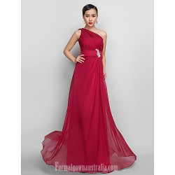 Australia Formal Evening Dress Prom Gowns Military Ball Dress Burgundy Plus Sizes Dresses Petite A-line Sexy One Shoulder Long Floor-length Chiffon
