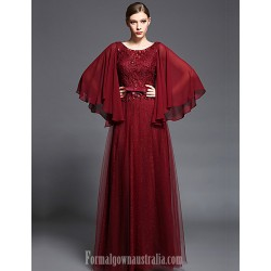 Australia Formal Dress Evening Gowns Burgundy A-line Scoop Long Floor-length Chiffon Lace Tulle Charmeuse