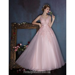 Dress Dark Navy Candy Pink A-line V-neck Long Floor-length Lace Dress Satin Tulle