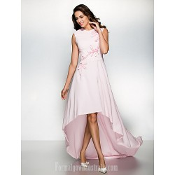 Australia Formal Dress Evening Gowns Blushing Pink A Line Jewel Asymmetrical Chiffon