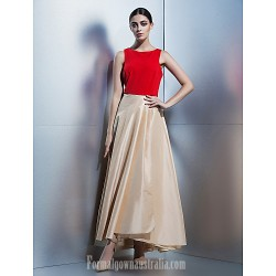 Company Party Dress Multi-color A-line Scoop Ankle-length Taffeta
