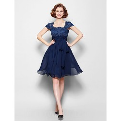 A-line Plus Sizes Dresses Petite Mother of the Bride Dress Dark Navy Short Knee-length Short Sleeve Chiffon Lace
