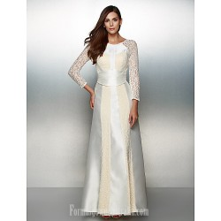 Australia Formal Dress Evening Gowns Ivory A Line Scoop Ankle Length Lace Satin