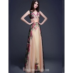 Australia Formal Dress Evening Gowns Print Plus Sizes Dresses Petite A-line V-neck Long Floor-length Chiffon