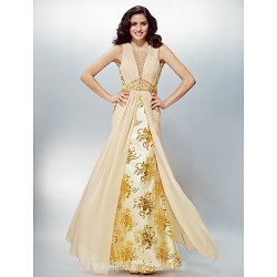 Australia Formal Evening Dress Champagne Plus Sizes Dresses Petite A-line Jewel Long Floor-length Chiffon Lace