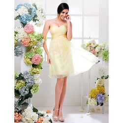 Short Knee-length Chiffon Bridesmaid Dress Daffodil Plus Sizes Dresses Petite A-line Sweetheart