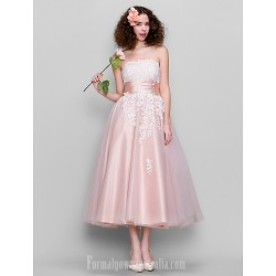 Dress Pearl Pink Plus Sizes Dresses Petite A-line Strapless Ankle-length Tulle Stretch Satin