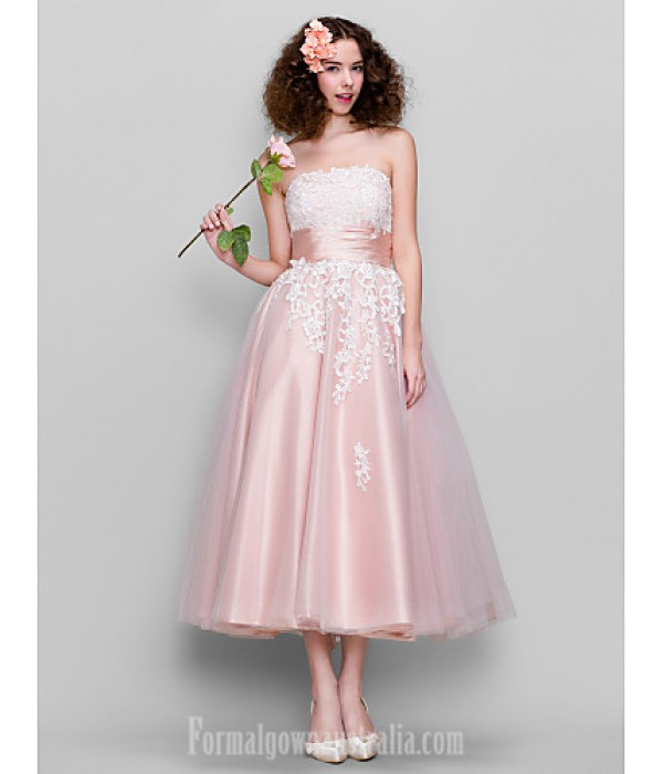 Dress Pearl Pink Plus Sizes Dresses Petite A-line Strapless Ankle-length Tulle Stretch Satin Formal Dress Australia