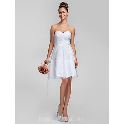 Short Knee-length Lace Bridesmaid Dress White Plus Sizes Dresses Petite A-line Princess Sweetheart