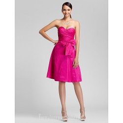 Short Knee Length Taffeta Bridesmaid Dress Fuchsia Plus Sizes Dresses Petite A Line Princess Sweetheart Strapless