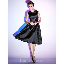 Australia Formal Dresses Cocktail Dress Party Dress Holiday Dress Black Plus Sizes Dresses Petite A-line Princess Scoop Short Knee-length Satin