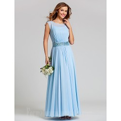 Ankle-length Chiffon Stretch Satin Bridesmaid Dress Sky Blue Plus Sizes Dresses Petite A-line Scoop